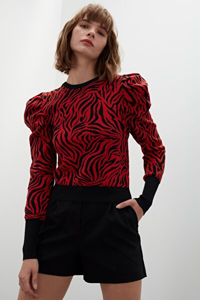 JOIN US Büzgülü Kol Zebra Desenli Triko Kazak - Siyah Kırmızı
