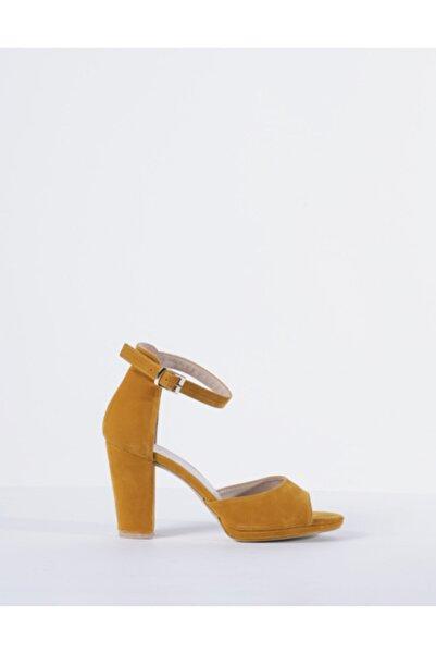 Vision Kadın Hardal Süet Topuklu Ayakkabı
