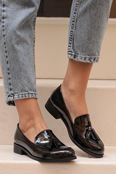 Mio Gusto Iris Siyah Rugan Oxford Ayakkabı
