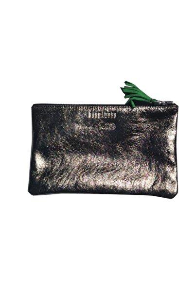 Bashaques Kadın Gümüş Deri Metalik Cüzdan