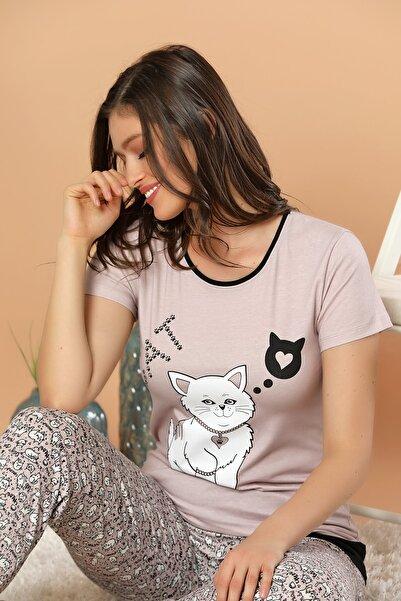 ELİTOL Kadın Bej Baskılı Pamuklu Likralı Pijama Takım