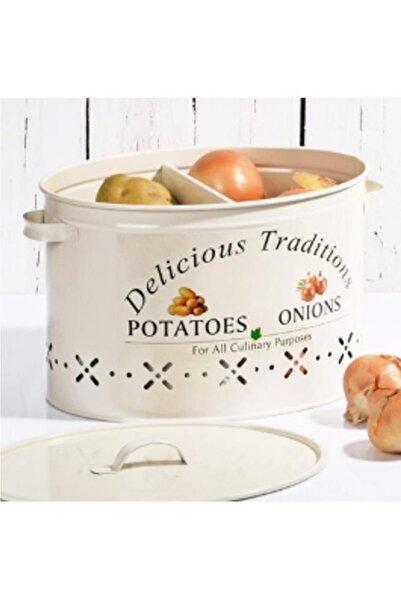 Happy Kitchen Krem Renk 2 Bölmeli Metal Patates Soğan Kovası18 lt