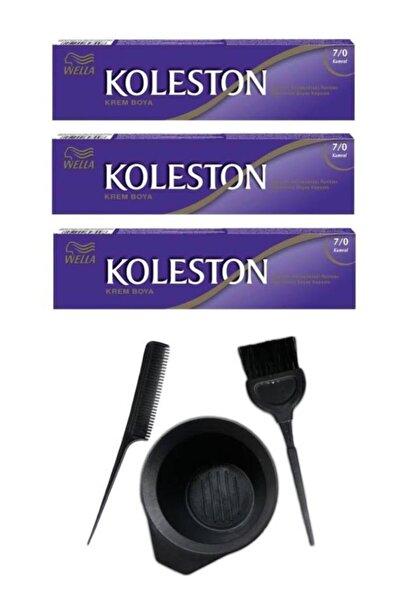 Koleston Tüp Saç Boyası 7.0 3 Adet + Saç Boyama Seti