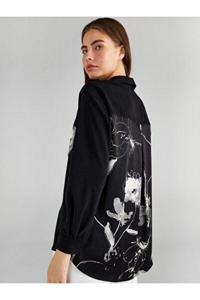 Faik Sönmez Kadın Siyah Çiçek Desen Cepli Gömlek 61320