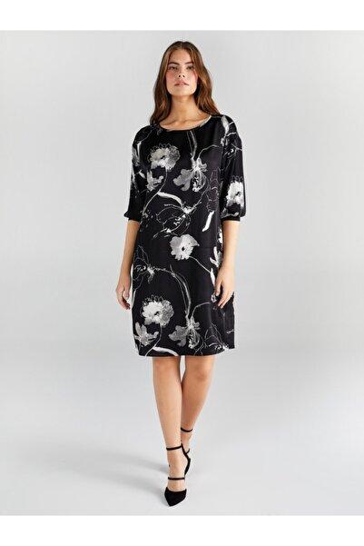 Faik Sönmez Kadın Siyah Çiçek Desenli Saten Elbise