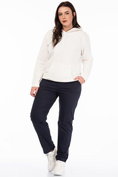 Şans Kadın Lacivert Likralı Bengalin Kumaş  Bel Kısmı Lastik Detaylı Cepli Pantolon 65N18450