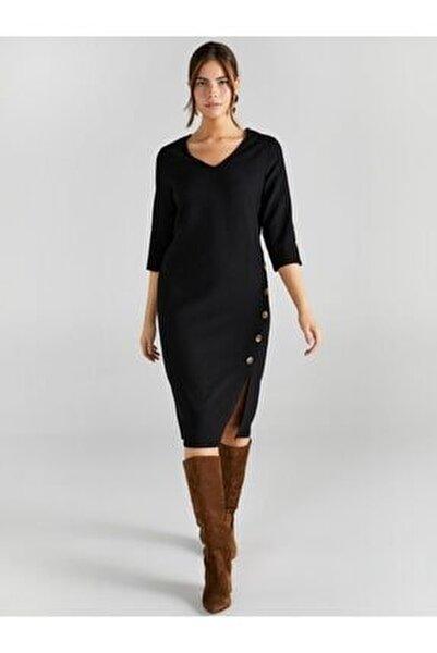 Kadın Siyah V Yaka Düğme Detaylı Elbise