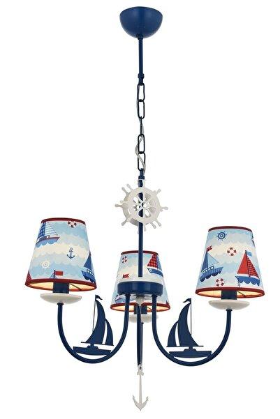 Avonni Avonnı Av-1416-boat Mavi Boyalı Çocuk Odası Avizesi, E14, Metal, 52cm