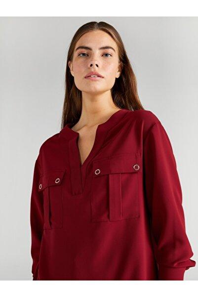Faik Sönmez Kadın Bordo Kaçık Yaka Cep Detaylı Bluz 61135
