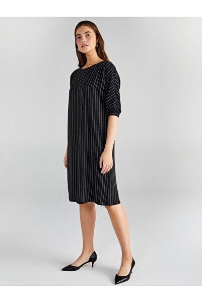 Faik Sönmez Kadın Siyah Çizgili Elbise