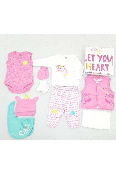 İmaj Zebra Desen Kız Bebek Hastane Çıkışı Yeni Doğan 10lu Set Pembe