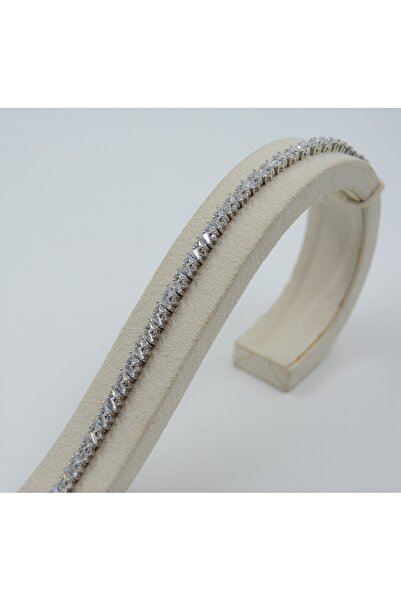 Swarovski Kadın 925 Ayar Gümüş Beyaz Zirkon Taşlı Bileklik