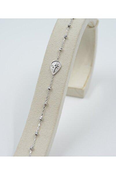 Swarovski Kadın Damla Desenli Zirkon Taşlı 925 Ayar Gümüş Bileklik