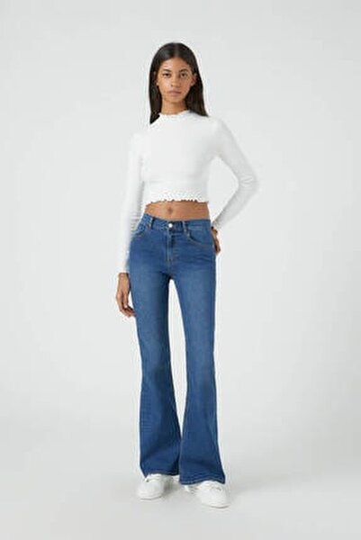 Kadın Mavi Basic İspanyol Paça Jean 09683303