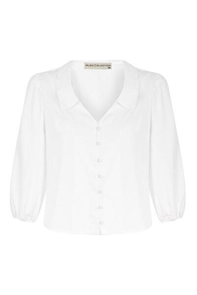 Mudo Kadın Beyaz Regular Kesim Düğme Detaylı Gömlek 1217055