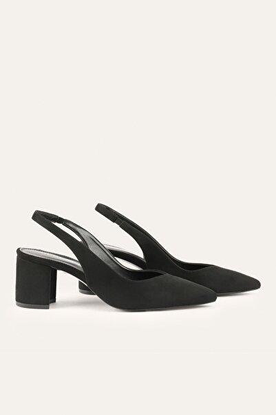 Mudo Kadın Siyah Süet Görünümlü Topuklu Ayakkabı 1221076