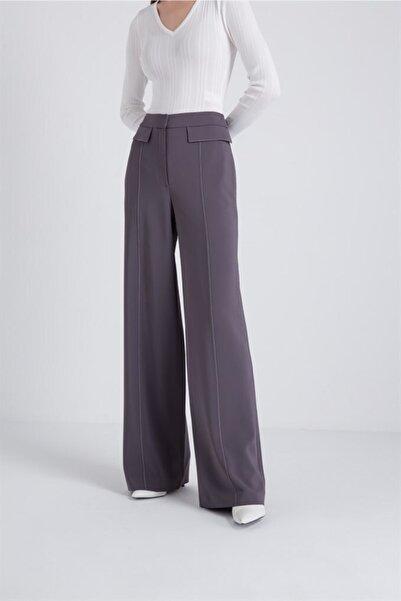 rue. Kadın Gri Orta Dikiş Detaylı Bol Form Pantolon