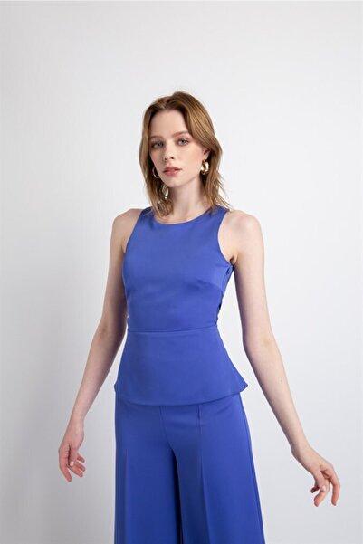 rue. Kadın İndigo Sırtı Çapraz Bağlamalı Bluz