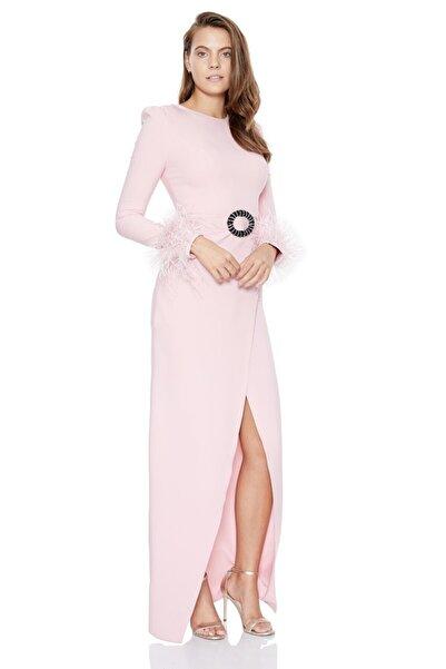 Keikei Kadın Pudra Krep Uzun Kol Elbise