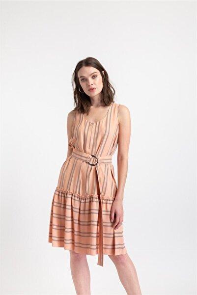 rue. Çizgili, Fermuar Detaylı Elbise Somon