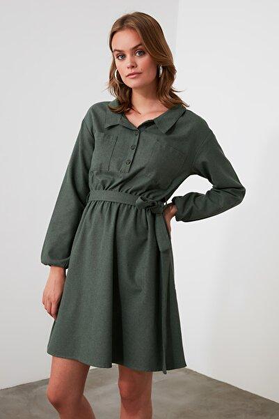 TRENDYOLMİLLA Haki Kuşaklı Elbise TWOAW21EL1565
