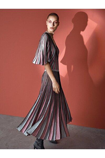 İpekyol Kadın Pembe Simli Örme Pilisole Elbise