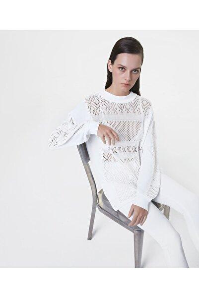 İpekyol Kadın Kırık Beyaz Motifli Örme Triko
