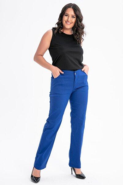 By Saygı Kadın Saks Yüksel Bel Verev Nakışlı Battal Pantolon S-20Y1060014