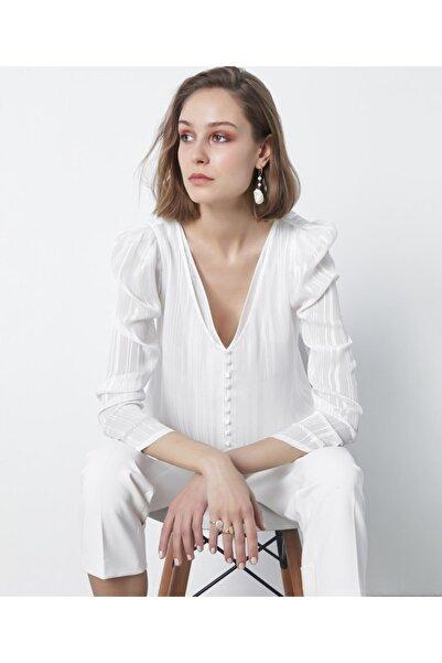 İpekyol Kadın Ekru Düğme Şeritli Bluz