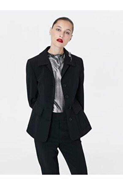 Kadın Siyah Bel Vurgulu Ceket