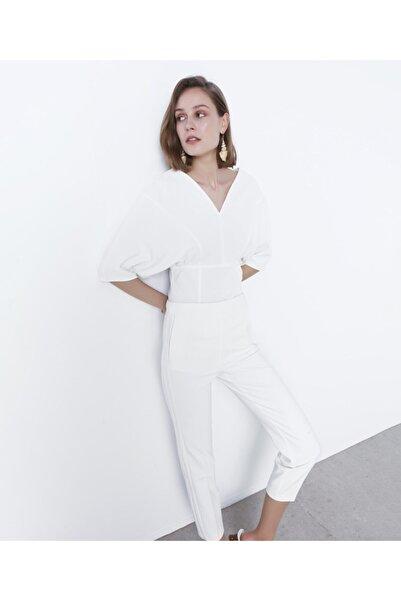 İpekyol Kadın Beyaz Bel Vurgulu Bluz