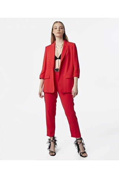 MISS IPEKYOL Kadın Kırmızı Klasik Kesim Pantolon
