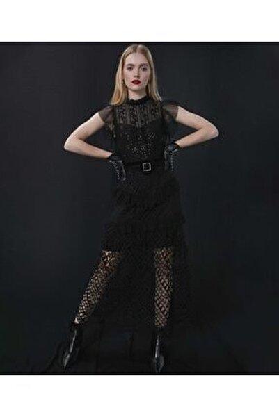 Kadın Siyah Transparan Güpür Elbise