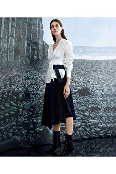 Kadın Beyaz Bel Vurgulu Kuşaklı Bluz