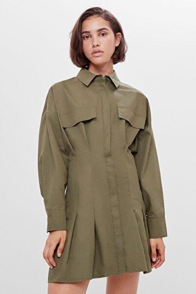 Bershka Kadın Haki Pilili Gömlek Elbise
