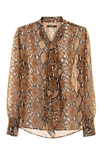 Gusto Kadın Kahverengi Desenli Şifon Bluz