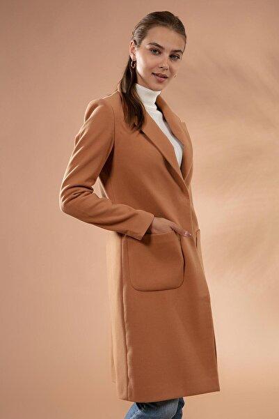 Y-London Kadın Camel Diana Kaşe Kaban 11449 ITL-5160