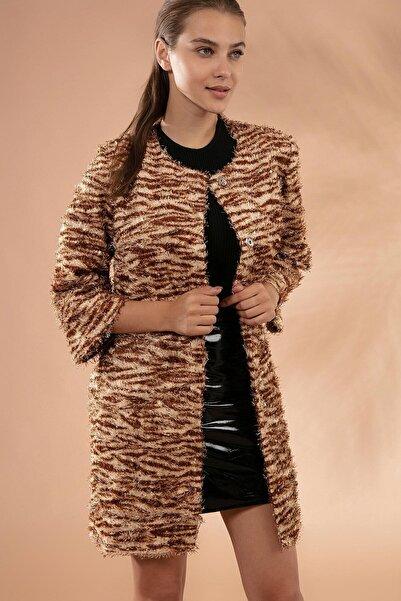 Y-London Kadın Bej Sakallı Pullu Ceket Y19W127-11605-3