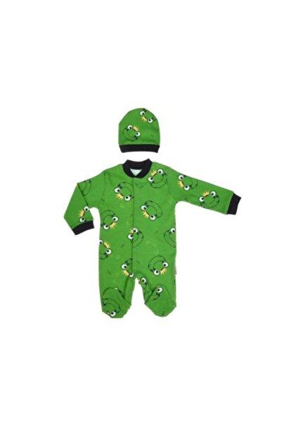 Junenext Unisex Bebek Yeşil Kurbağalı Şapkalı Tulum