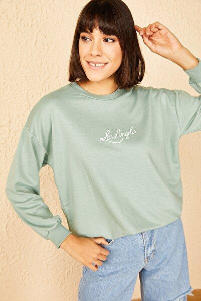 Bianco Lucci Kadın Mint Yeşili LosAngeles Baskılı Sweatshirt 10141002