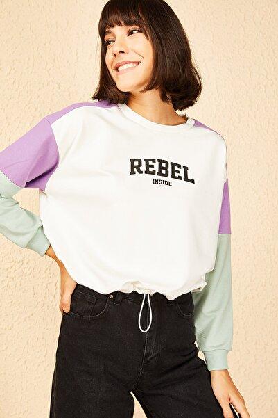 Bianco Lucci Kadın Ekru Rebel Baskılı Sweatshirt 10141010