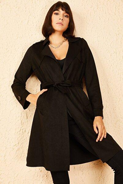 Bianco Lucci Kadın Siyah Süet Trenckot 10141033