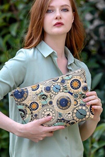 Chiccy Kadın Casual time desenli vegan clutch çanta C30090400CF97228