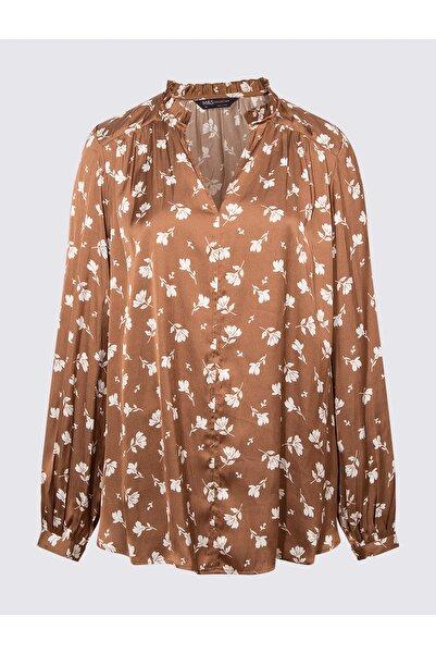 Marks & Spencer Kadın Kahverengi Çiçek Desenli Popover Bluz T43003260