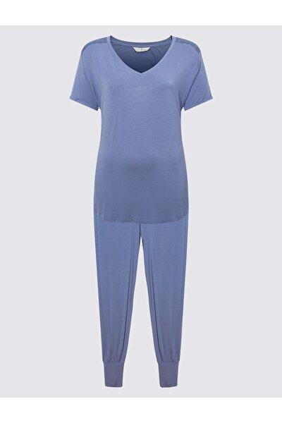 Marks & Spencer Kadın Mavi Kısa Kollu Pijama Takımı T37001516X