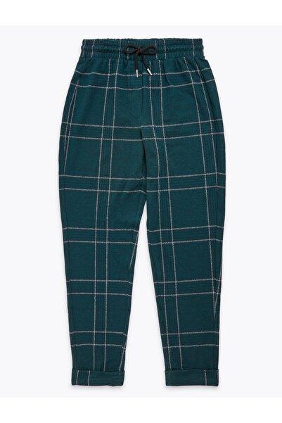 Marks & Spencer Kadın Mavi Ekose Tapered Leg Pantolon T57007195