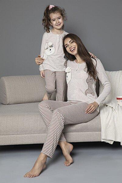 Siyah İnci çocuk Pamuklu Likrali Düğmeli Nakışlı Pijama Takım