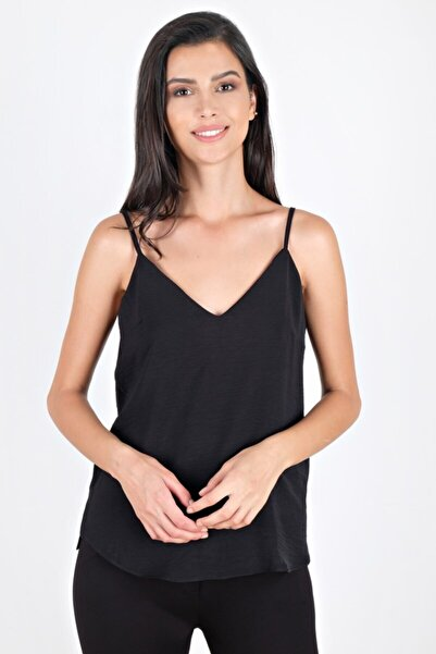 Spazio Kadın Siyah Jackeline Askılı V Yaka Bluz 30093714