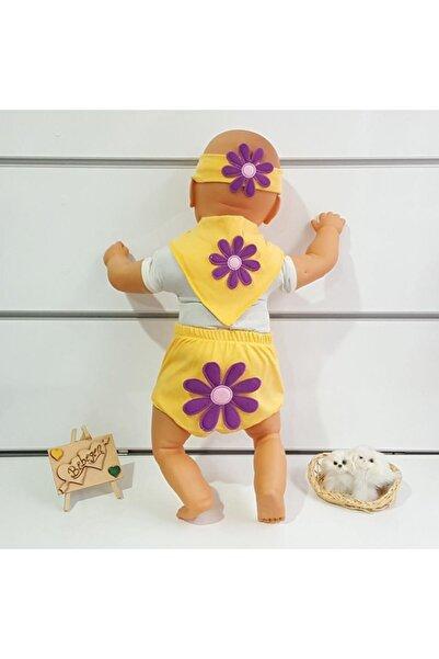 Afili Lüx Papatyalı 3 Lü Bebek Takımı Sarı