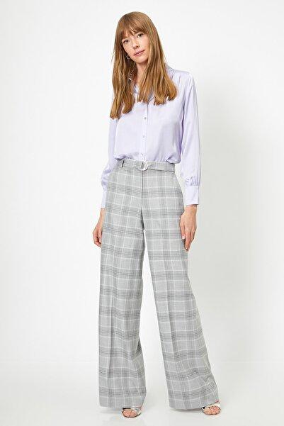 Koton Kadın Gri Ekoseli Jeans 0YAK42291UW